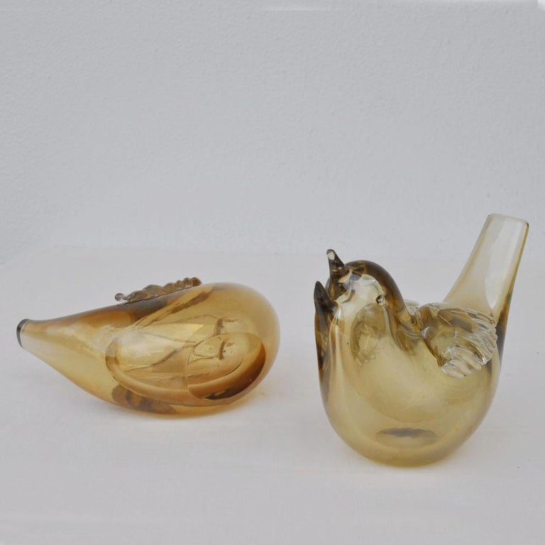 Pair of Birds Sculpture Hand Blown Glass by Paolo Venini and Tyra Lundgren For Sale 3