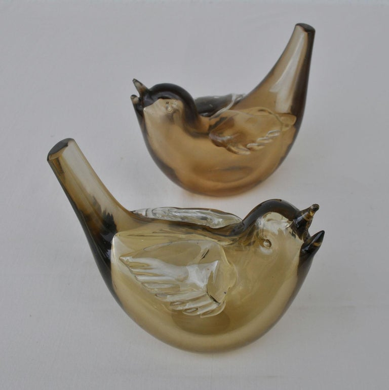 Mid-Century Modern Pair of Chirping Birds, Hand Blown Iridescent Gold Crystal Glass by Paolo Venini For Sale