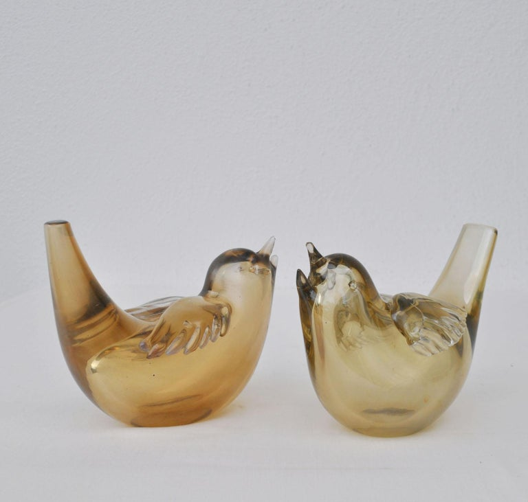 Mid-Century Modern Pair of Birds Sculpture Hand Blown Glass by Paolo Venini and Tyra Lundgren For Sale
