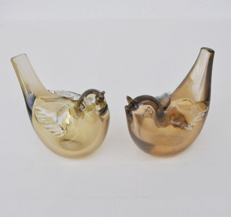 Italian Pair of Birds Sculpture Hand Blown Glass by Paolo Venini and Tyra Lundgren For Sale