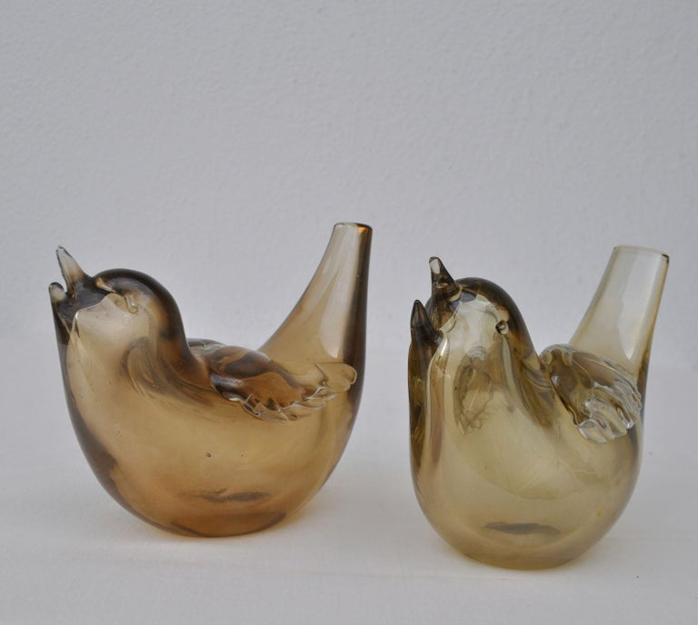 Mid-20th Century Pair of Chirping Birds, Hand Blown Iridescent Gold Crystal Glass by Paolo Venini For Sale