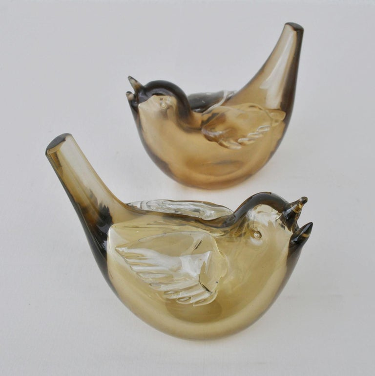 Mid-20th Century Pair of Birds Sculpture Hand Blown Glass by Paolo Venini and Tyra Lundgren For Sale