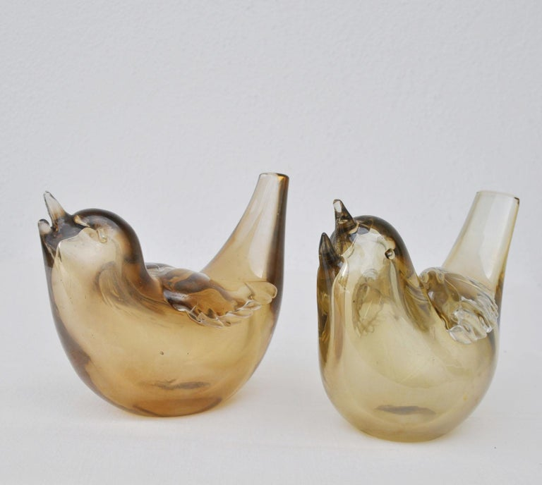 Murano Glass Pair of Birds Sculpture Hand Blown Glass by Paolo Venini and Tyra Lundgren For Sale