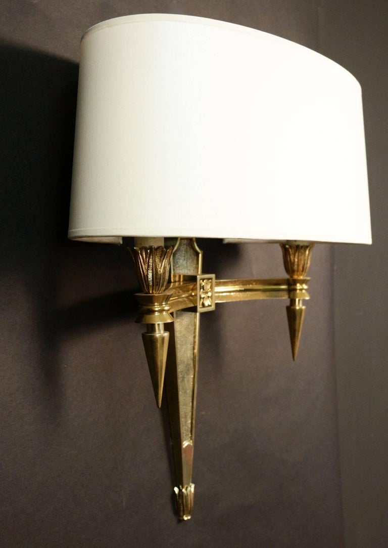 Mid-Century Modern Pair of Chiseled Bronze Sconces For Sale