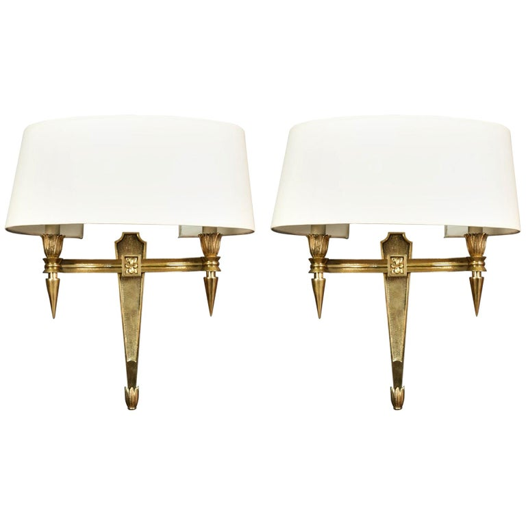 Pair of Chiseled Bronze Sconces For Sale