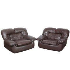 Pair of Chocolate Brown Leather 1970s Lounge Chairs from Sweden