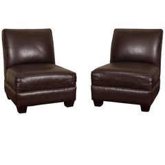 Pair of Chocolate Brown Leather Slipper Chairs