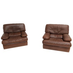 Pair of Chocolate Brown Vintage Leather Roche Bobois Lounge Chairs, 1970s