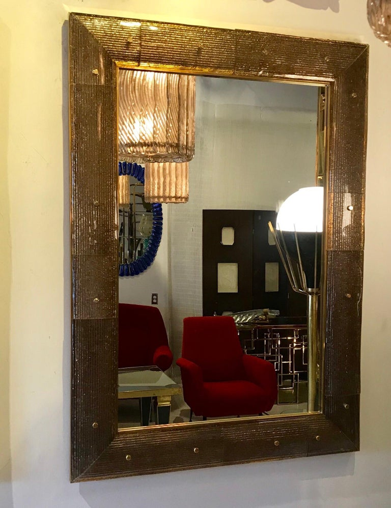 Pair of Chocolate Crackeled Murano Glass Mirrors For Sale 3