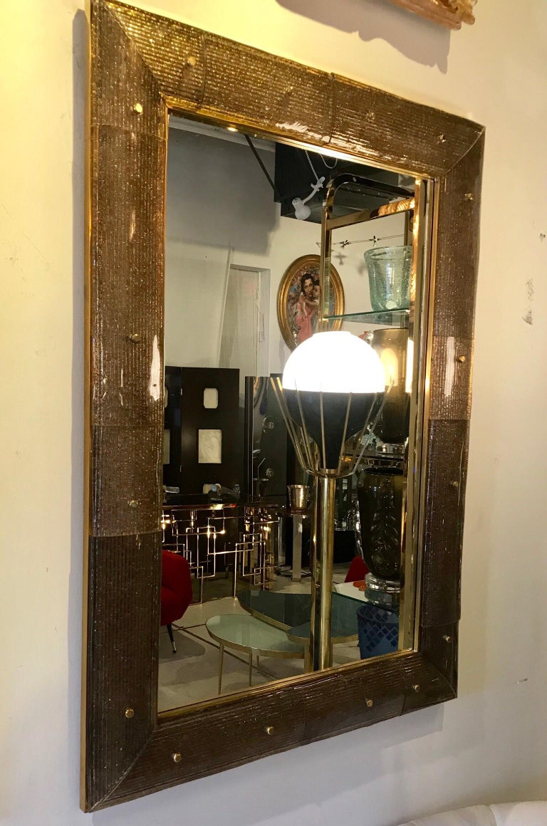 Pair of Chocolate Crackeled Murano Glass Mirrors For Sale 5
