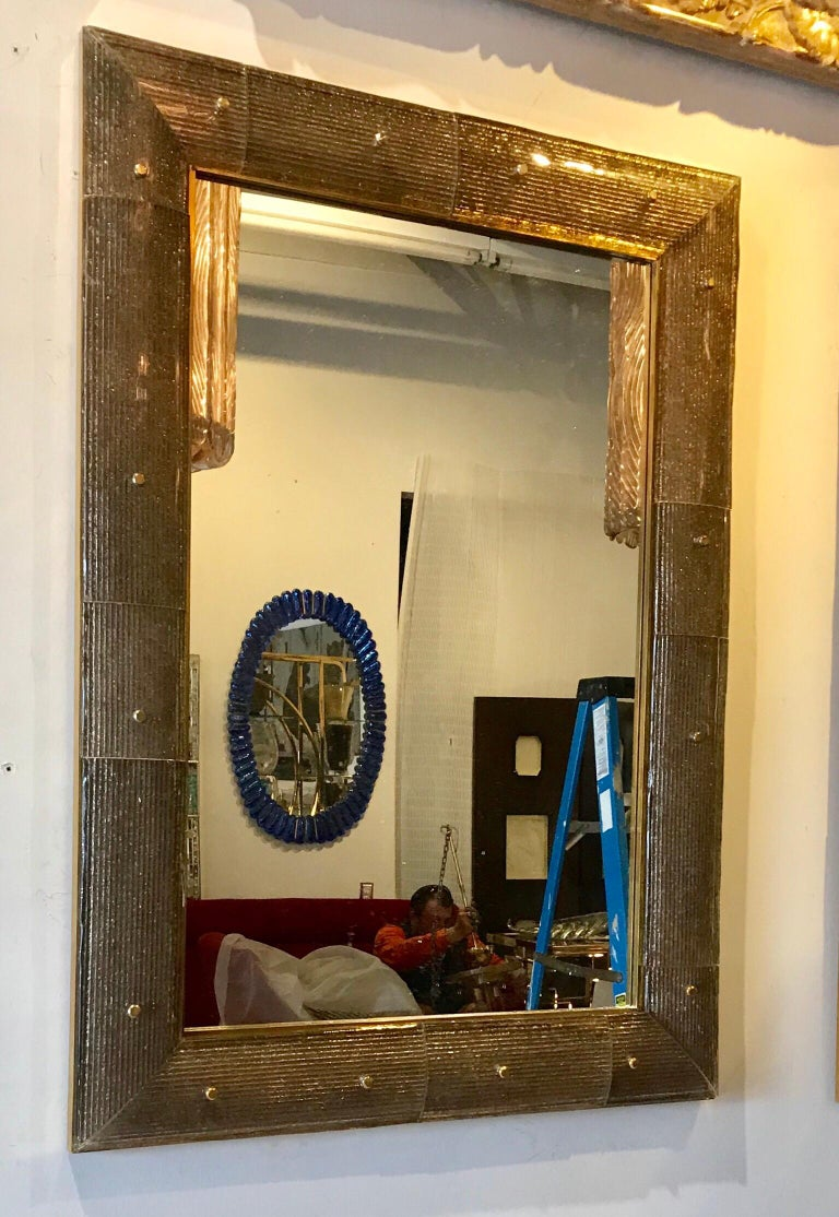 Modern Pair of Chocolate Crackeled Murano Glass Mirrors For Sale