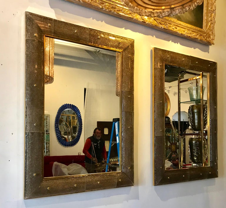 Pair of Chocolate Crackeled Murano Glass Mirrors In Good Condition For Sale In Miami, FL
