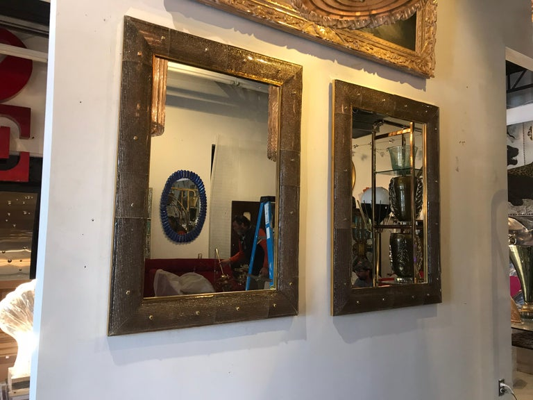 Brass Pair of Chocolate Crackeled Murano Glass Mirrors For Sale
