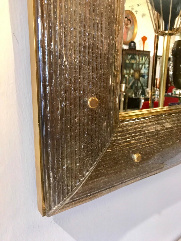 Pair of Chocolate Crackeled Murano Glass Mirrors For Sale 2