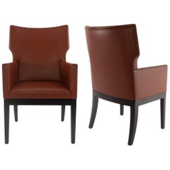 Pair of Christian Liaigre Holly Hunt Barbuda Leather Arm Chairs