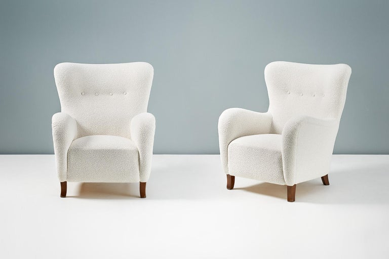 Mid-20th Century Pair of Christian Sorensen 1940s Danish Boucle Wing Chairs For Sale