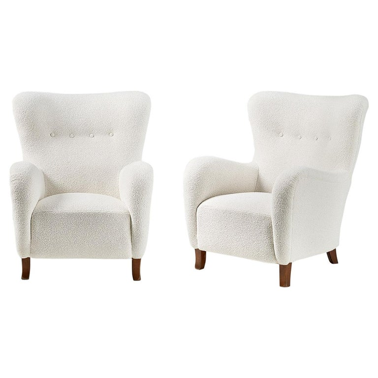 Pair of Christian Sorensen 1940s Danish Boucle Wing Chairs For Sale