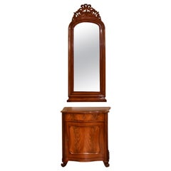 Pair of Christian VIII Serpentine-Front, Mahogany Nightstands with Mirrors