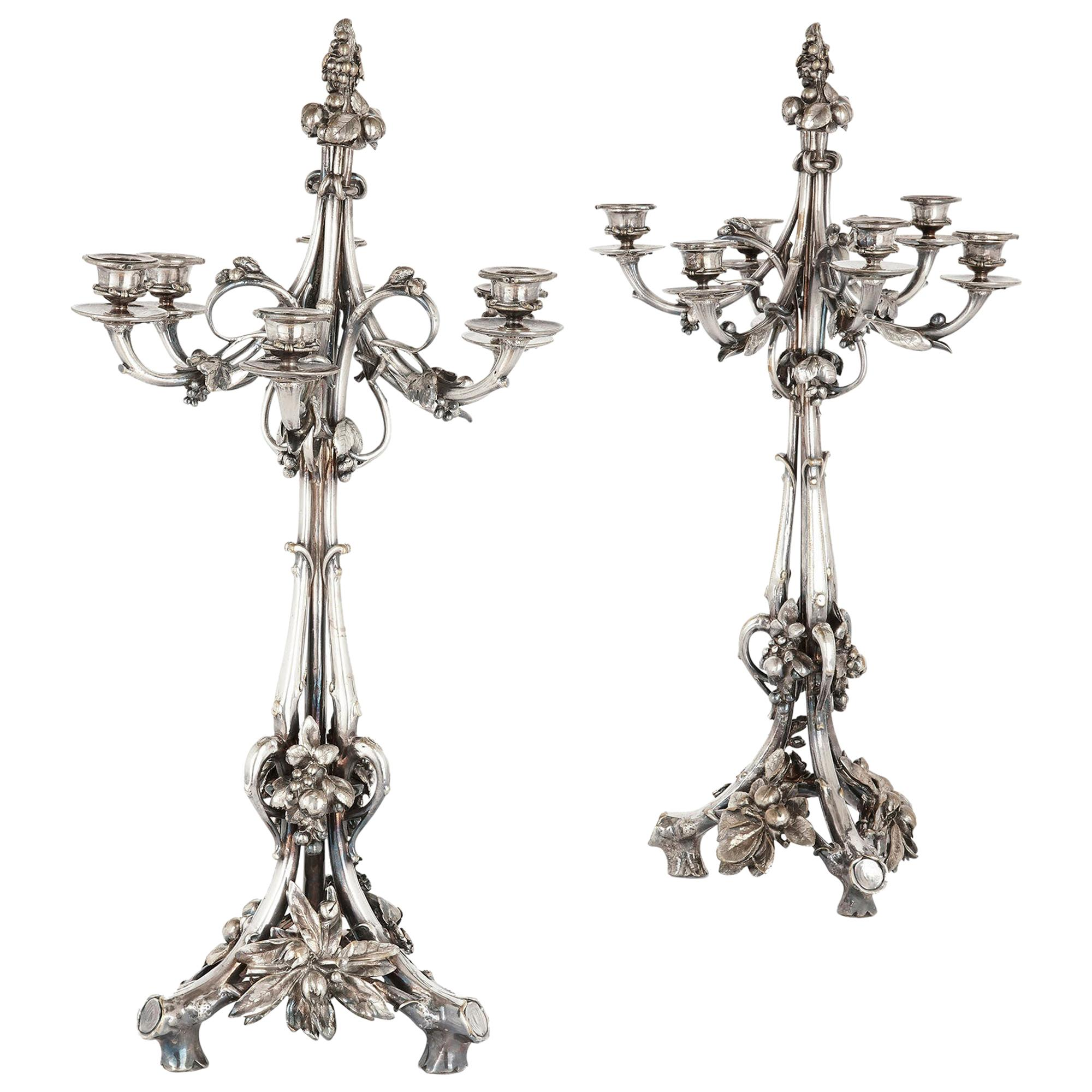 Pair of Christofle Neoclassical Style Silvered Bronze Table Candelabra