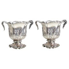 Pair of Christofle Silver Plate Double Handle Champagne Coolers, circa 1850