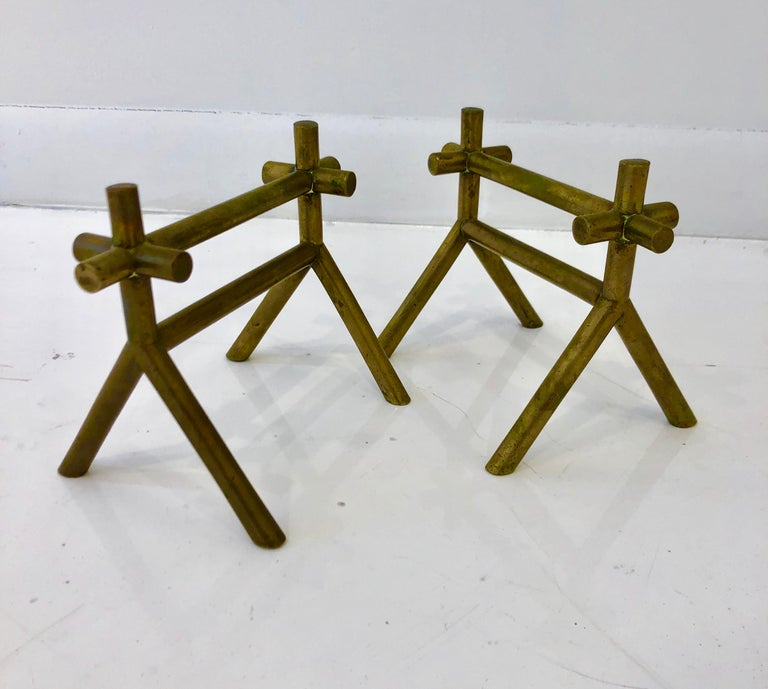 British Pair of Christopher Dresser Brass Firedogs For Sale