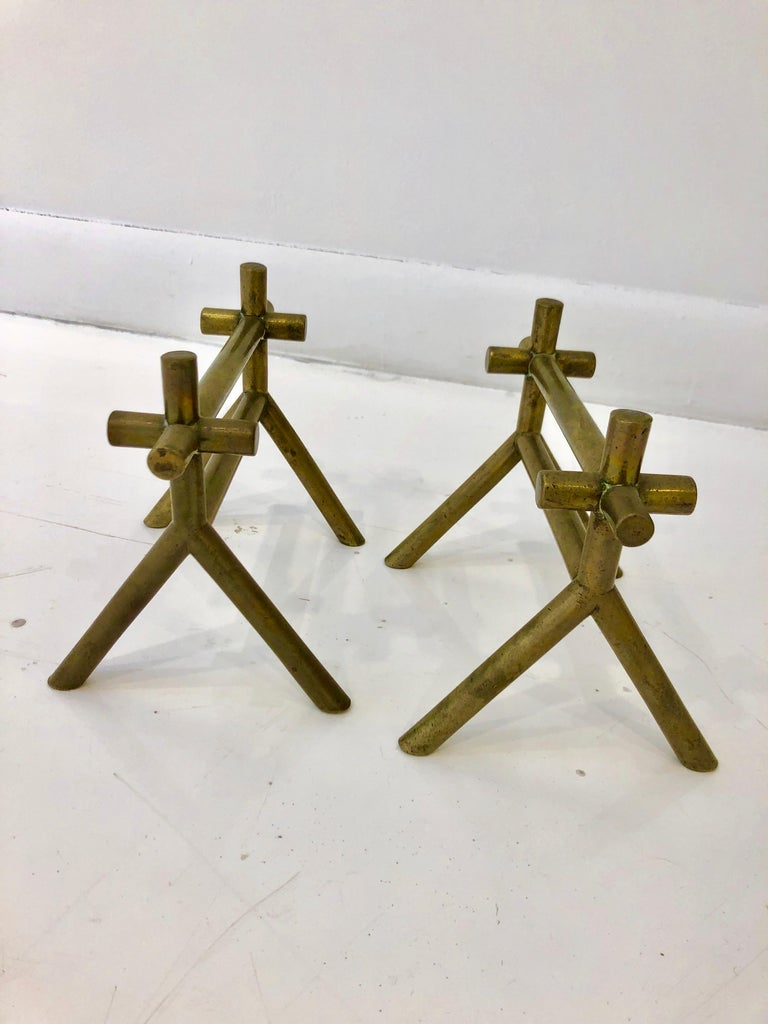 Pair of Christopher Dresser Brass Firedogs In Good Condition For Sale In Hudson, NY