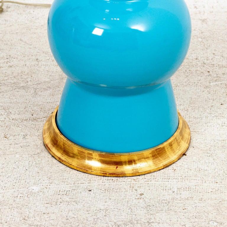 Ceramic Pair of Christopher Spitzmiller Gregory Blue Ginger Jar Lamps For Sale