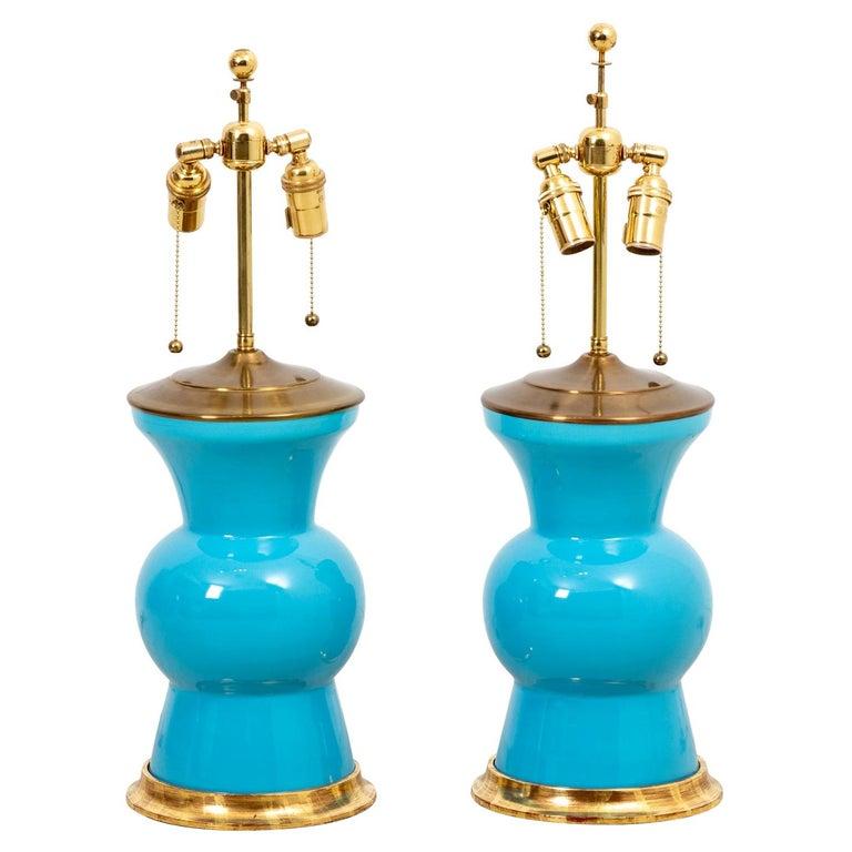 Pair of Christopher Spitzmiller Gregory Blue Ginger Jar Lamps For Sale