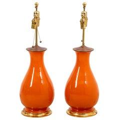 Pair of Christopher Spitzmiller Large Orange Lamps