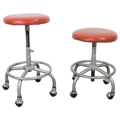 Pair of Chrome Adjustable Vintage Industrial Swivel Stools