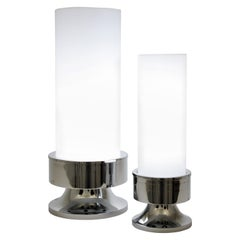 Pair of Chrome and Acrylic Cilindric Space Age Table Lamps, Italy, 1960s