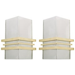 Pair of Chrome and Brass Deco Style Sconces
