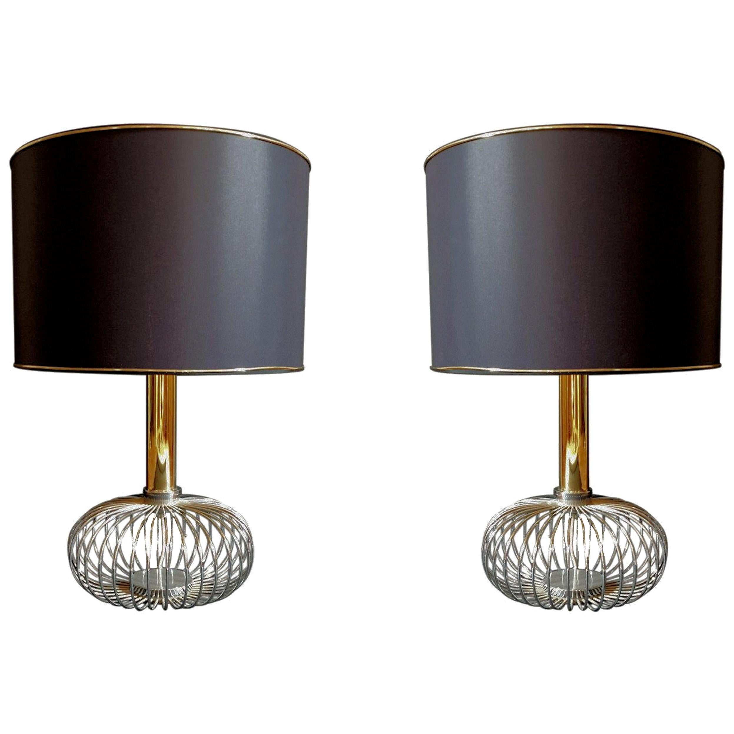 Pair of Chrome and Brass Mid-Century Modern Table Lamps, Sciolari Style, 1970s