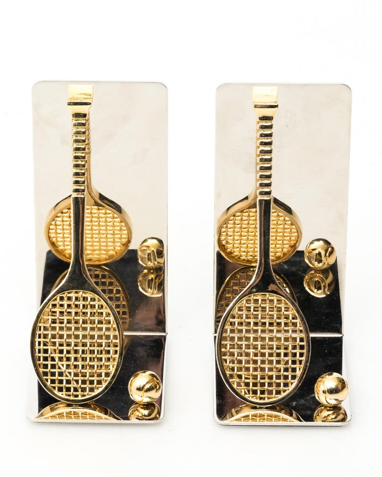 20th Century Pair of Chrome and Brass Tennis Racket Bookends, circa 1970s For Sale