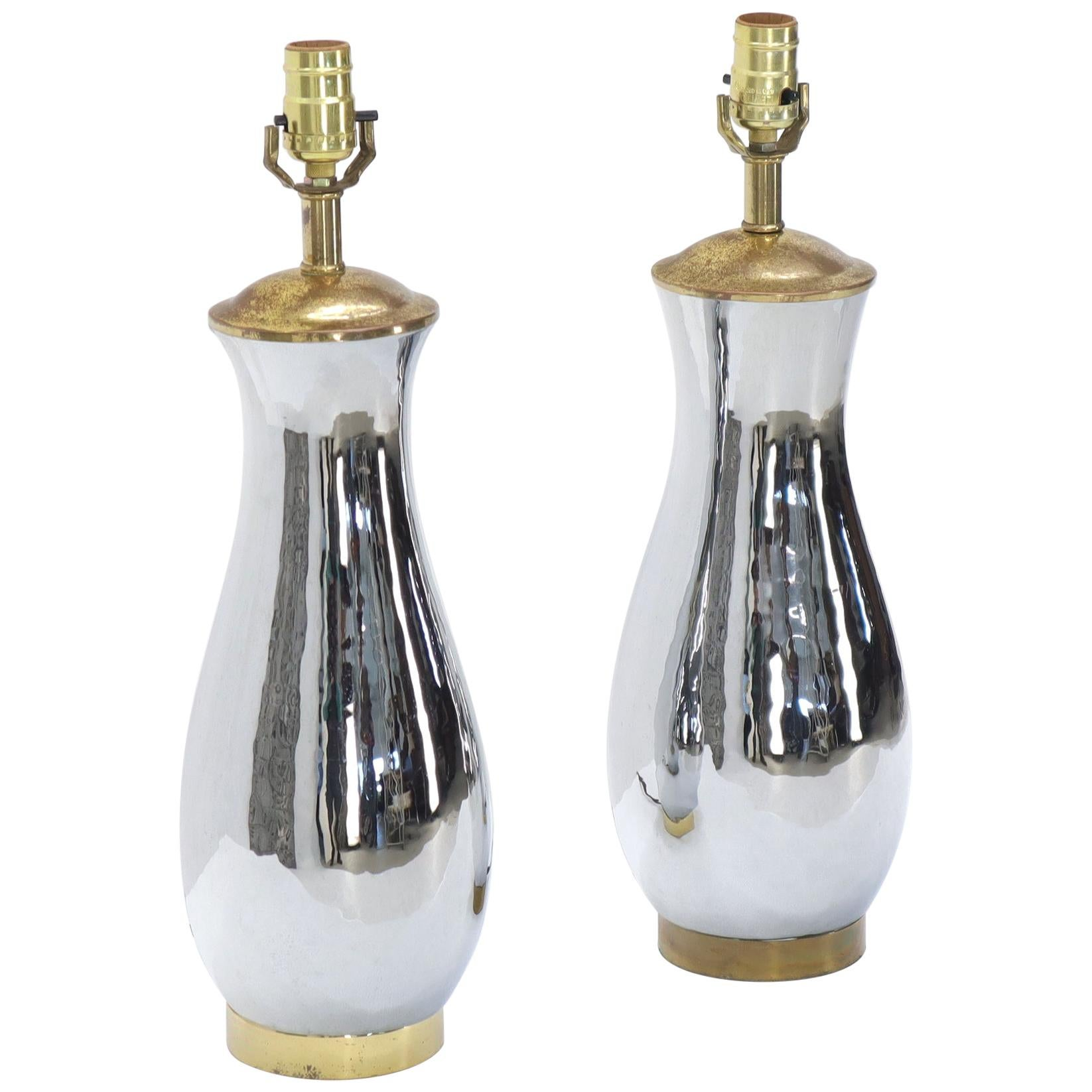 Pair of Chrome and Brass Vase Shape Table Lamps