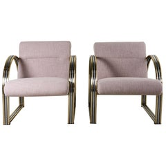 Pair of Chrome and Bronze Armchairs