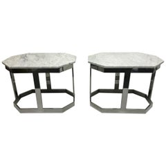 Pair of Chrome and Carrara Marble Octagonal Top Tables
