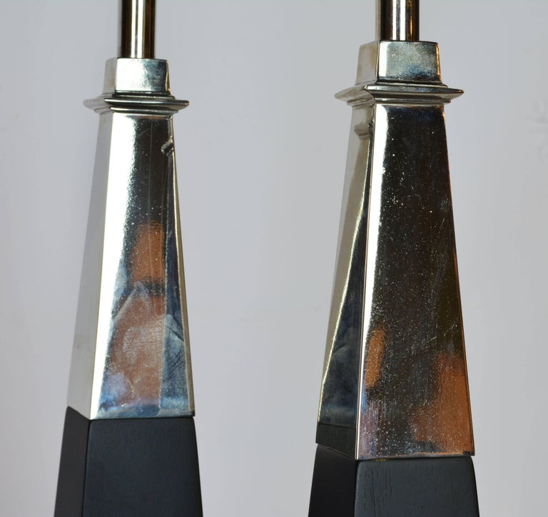 American Pair of Chrome and Ebonized Wood Obelisk Lamps by Tommi Parzinger for Stiffel For Sale