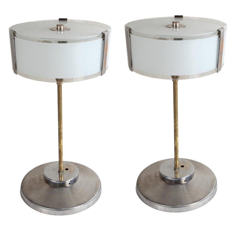 Pair of Chrome and Frosted Glass Mid-Century Modern Table Lamps For Sale