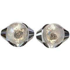 Pair of Chrome and Glass Ball Space Age Sconces, Italy, 1970s