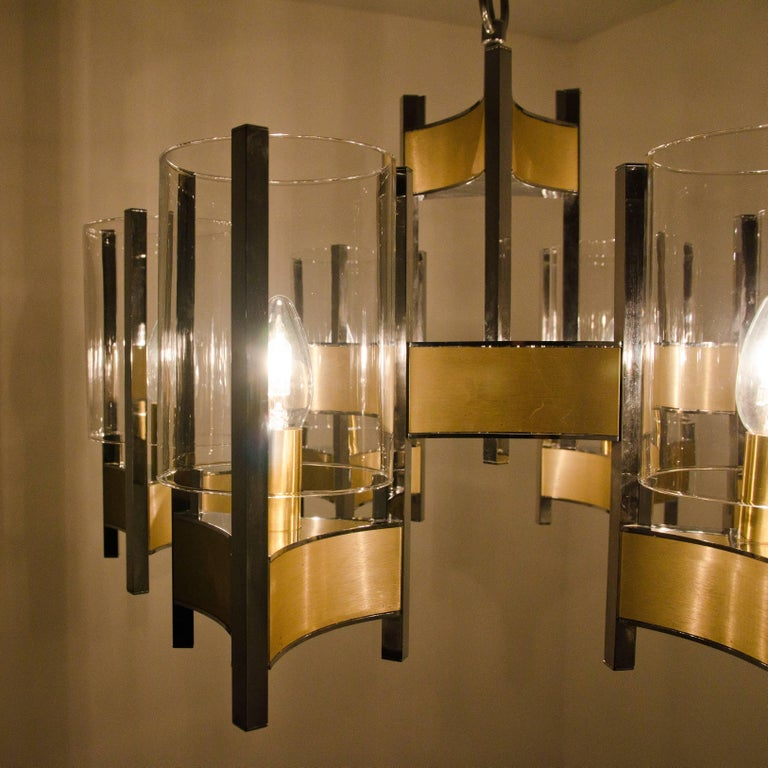 Pair of Chrome and Glass Chandeliers by Gaetano Sciolari, 1960s For Sale 3