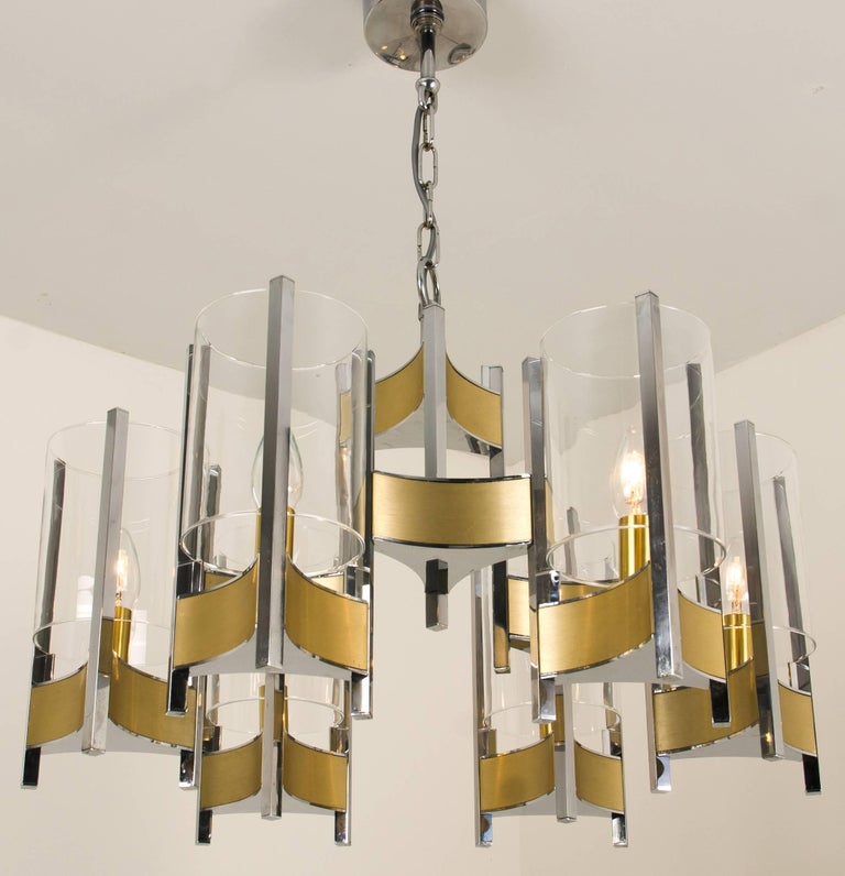 Mid-Century Modern Pair of Chrome and Glass Chandeliers by Gaetano Sciolari, 1960s For Sale