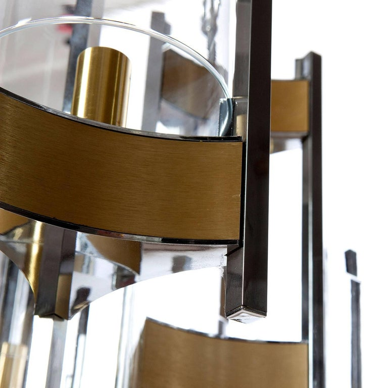 Pair of Chrome and Glass Chandeliers by Gaetano Sciolari, 1960s In Excellent Condition For Sale In Rijssen, NL