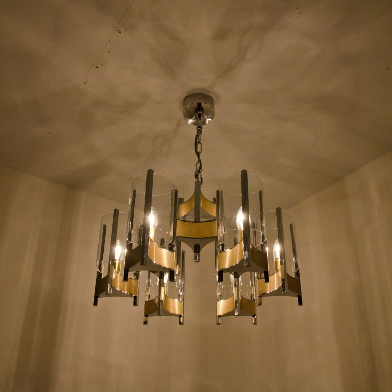 Brass Pair of Chrome and Glass Chandeliers by Gaetano Sciolari, 1960s For Sale
