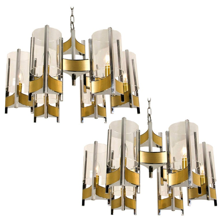 Pair of Chrome and Glass Chandeliers by Gaetano Sciolari, 1960s For Sale