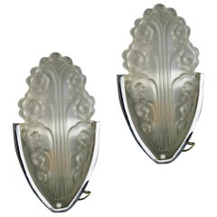 Pair of Chrome and Glass Deco Style Sconces