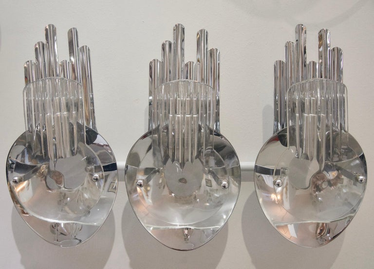 Mid-Century Modern Pair of Chrome and Glass Sconces For Sale
