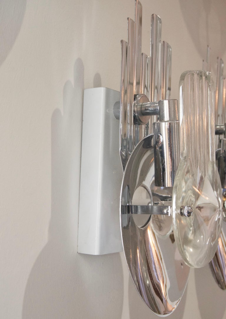 American Pair of Chrome and Glass Sconces For Sale