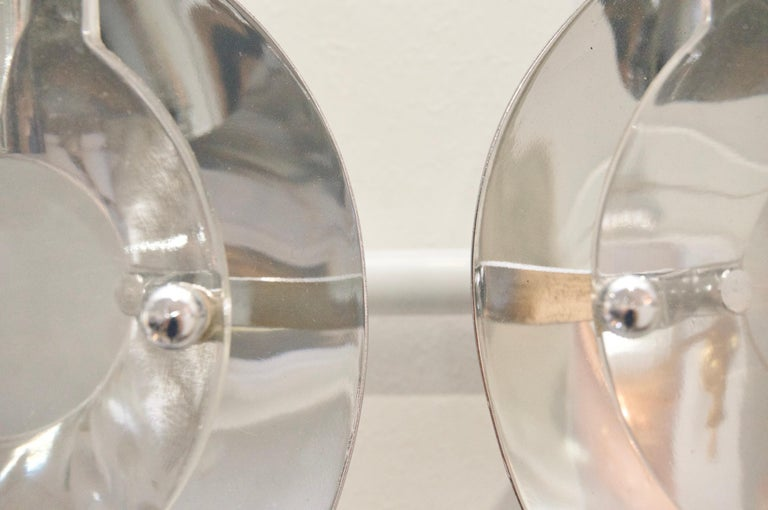 Molded Pair of Chrome and Glass Sconces For Sale