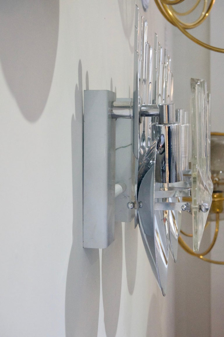 20th Century Pair of Chrome and Glass Sconces For Sale